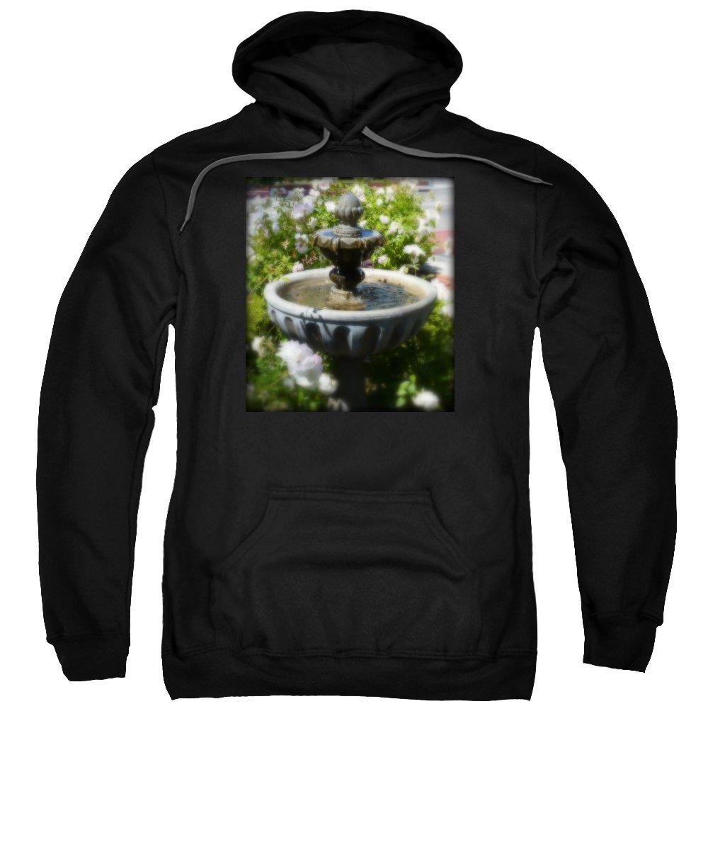 Fountain Sweatshirt featuring the photograph Garden Fountain by Carla Parris