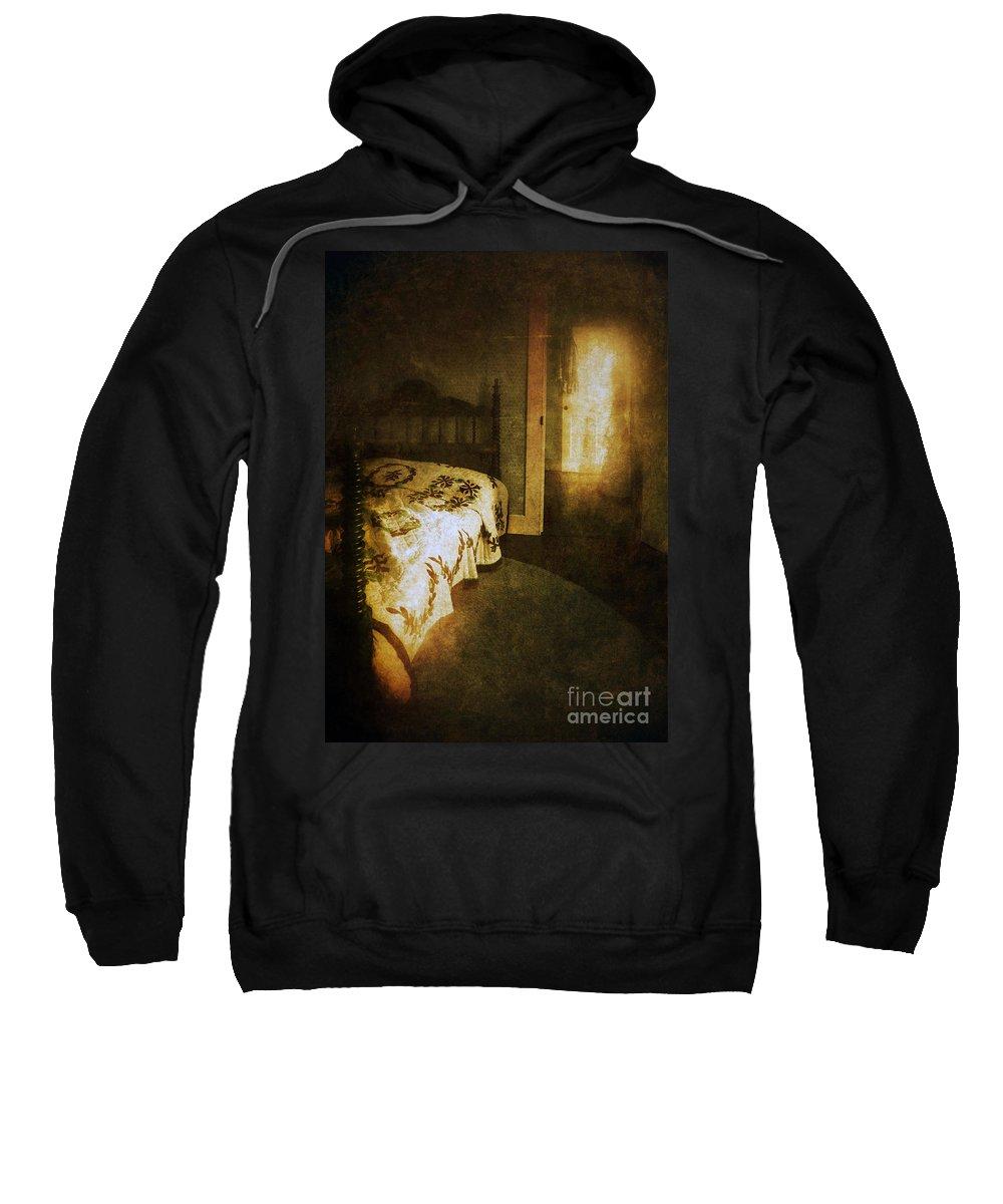 Room Sweatshirt featuring the photograph Ghostly Figure In Hallway by Jill Battaglia