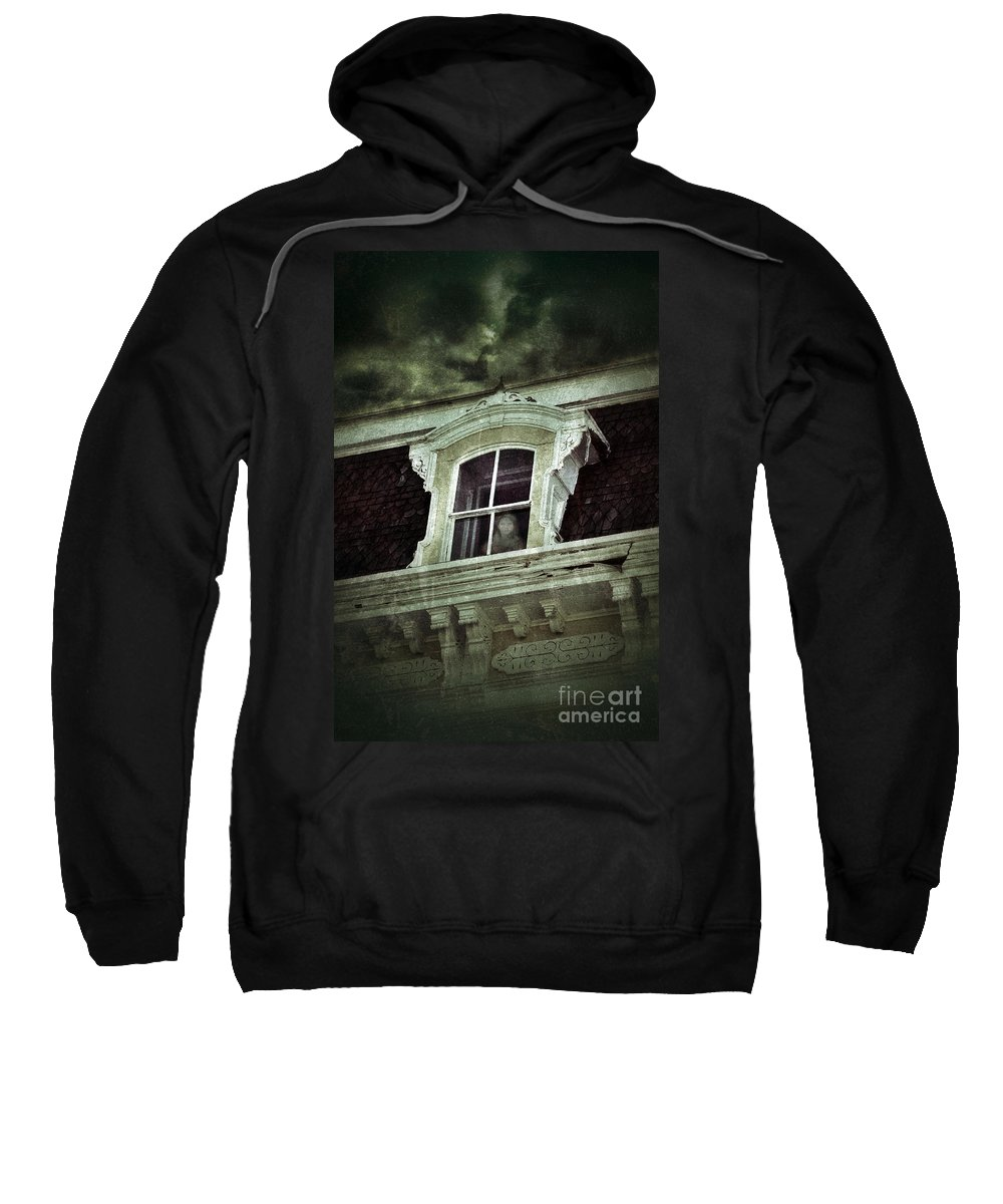 House Sweatshirt featuring the photograph Ghostly Girl In Upstairs Window by Jill Battaglia