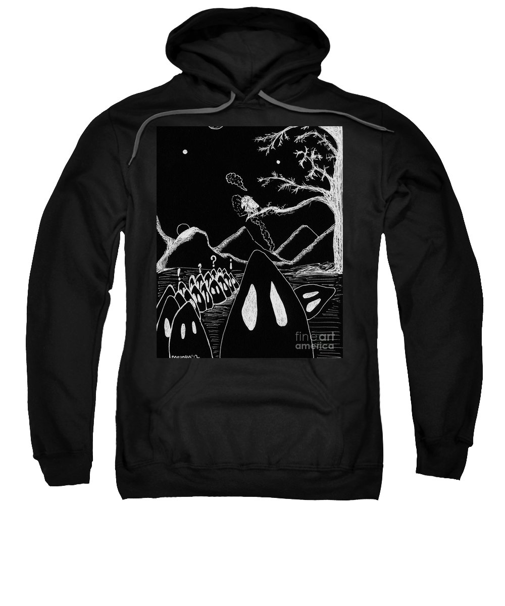 Ghosts Sweatshirt featuring the drawing Ghosts 1 Inverted by Michael Mooney