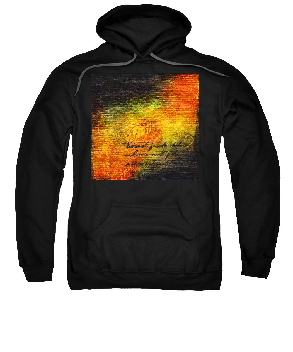 Gold Sweatshirt featuring the mixed media Give Me Strength 3 by Cindy Johnston