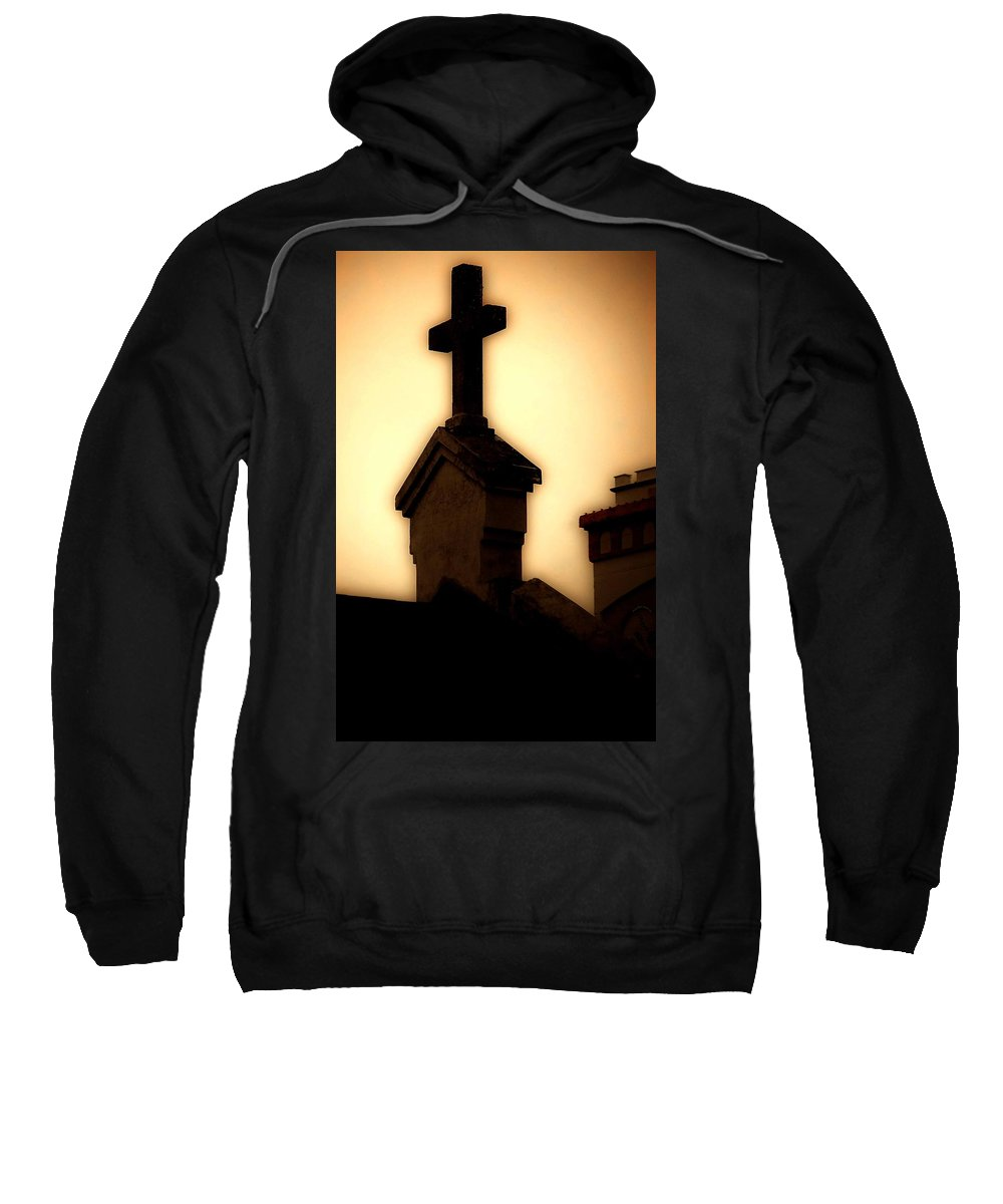 Cross Sweatshirt featuring the photograph Glowing Resurrection by DigiArt Diaries by Vicky B Fuller