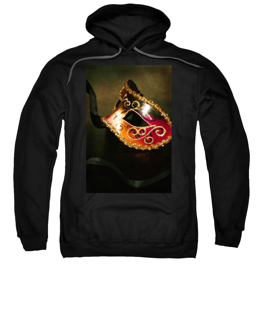 Masquerade Sweatshirt featuring the photograph Gold Scroll Masquerade Mask by Faith Gauthier