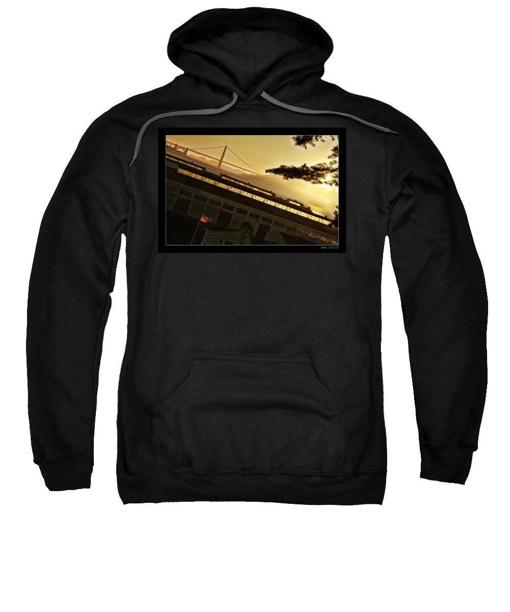Golden Gate Sweatshirt featuring the photograph Golden Gate And Flag by Blake Richards
