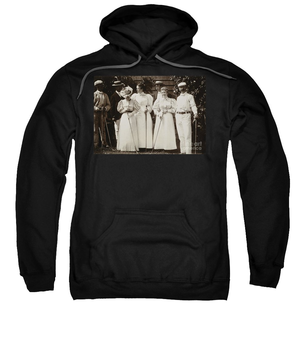 1895 Sweatshirt featuring the photograph Golfing Party, C1895 by Granger