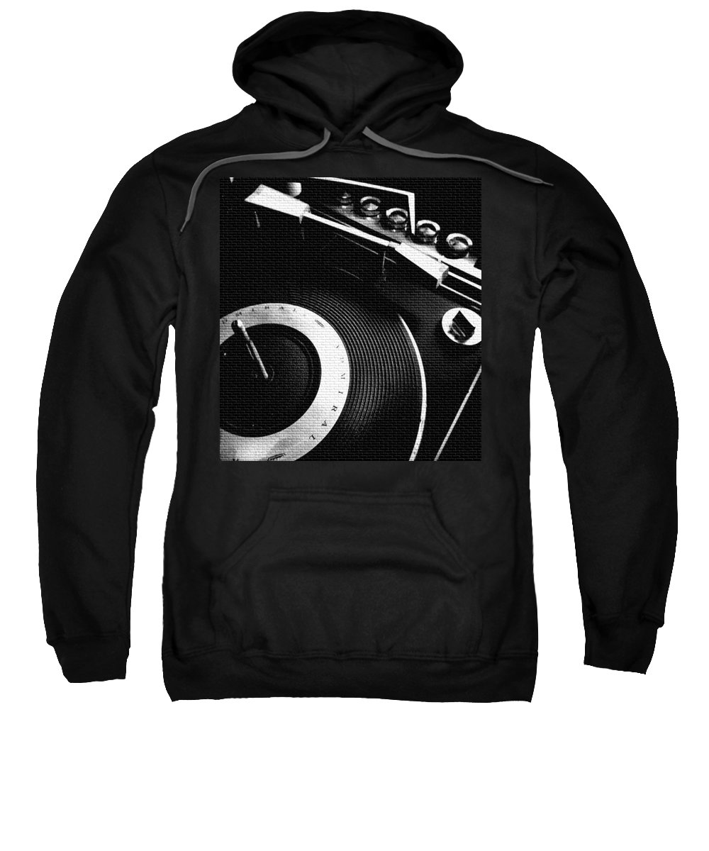 Reels Record Player Tape Player Analog Vintage Admiral Push Button Cassette Old School Screw Round Disk Vinyl Needle Contrast Star Rollmusic Sound Equipment Modern Cool Rare Crisp Bright Reflective Sweatshirt featuring the photograph Good Feeling by Gabe Arroyo