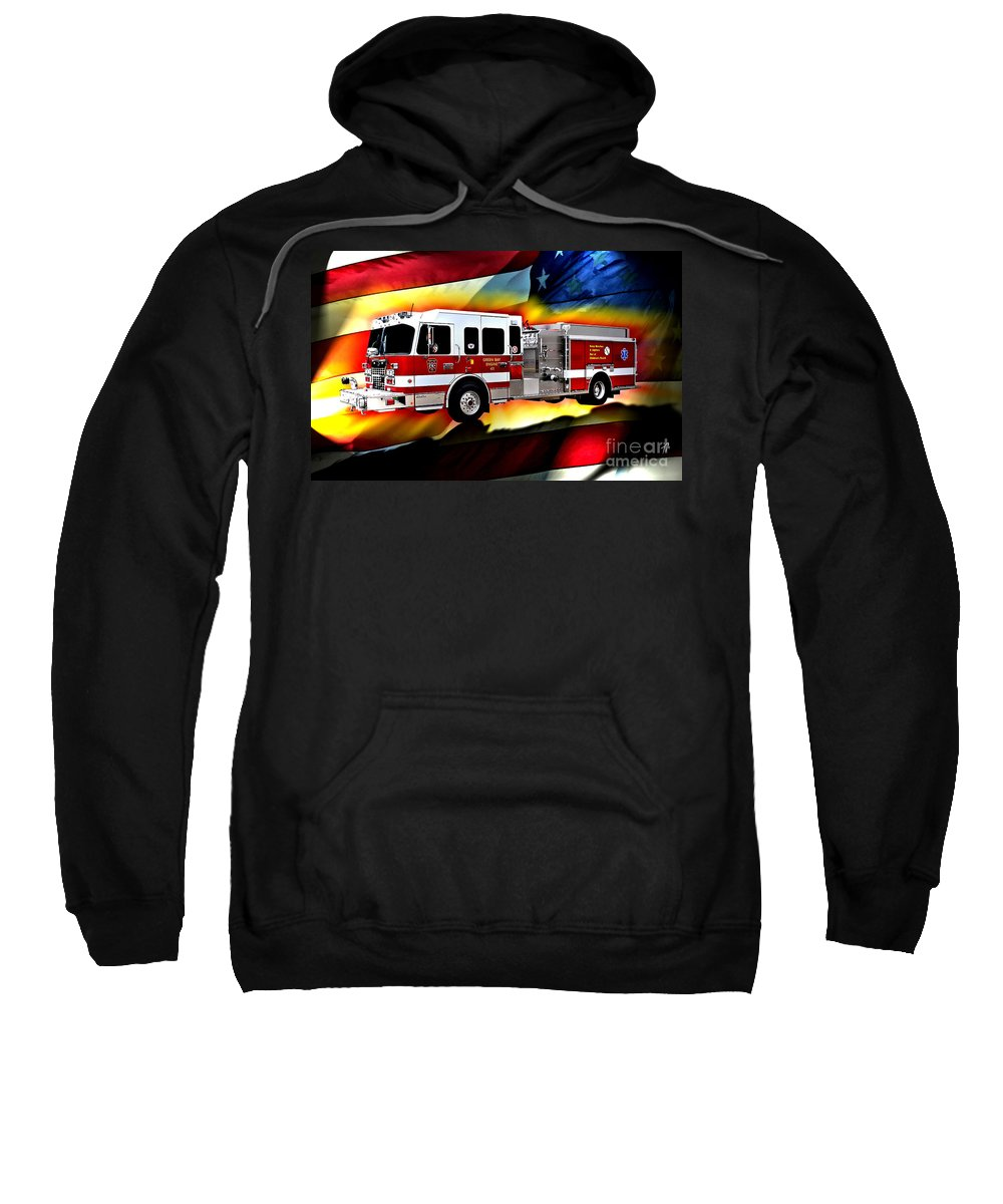 Fire Truck Sweatshirt featuring the digital art Green Bay Engine 411 by Tommy Anderson