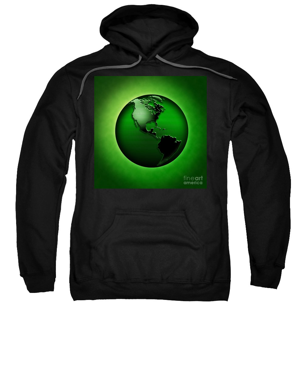 Green Earth Sweatshirt featuring the digital art Green Earth by Mike Agliolo and Photo Researchers