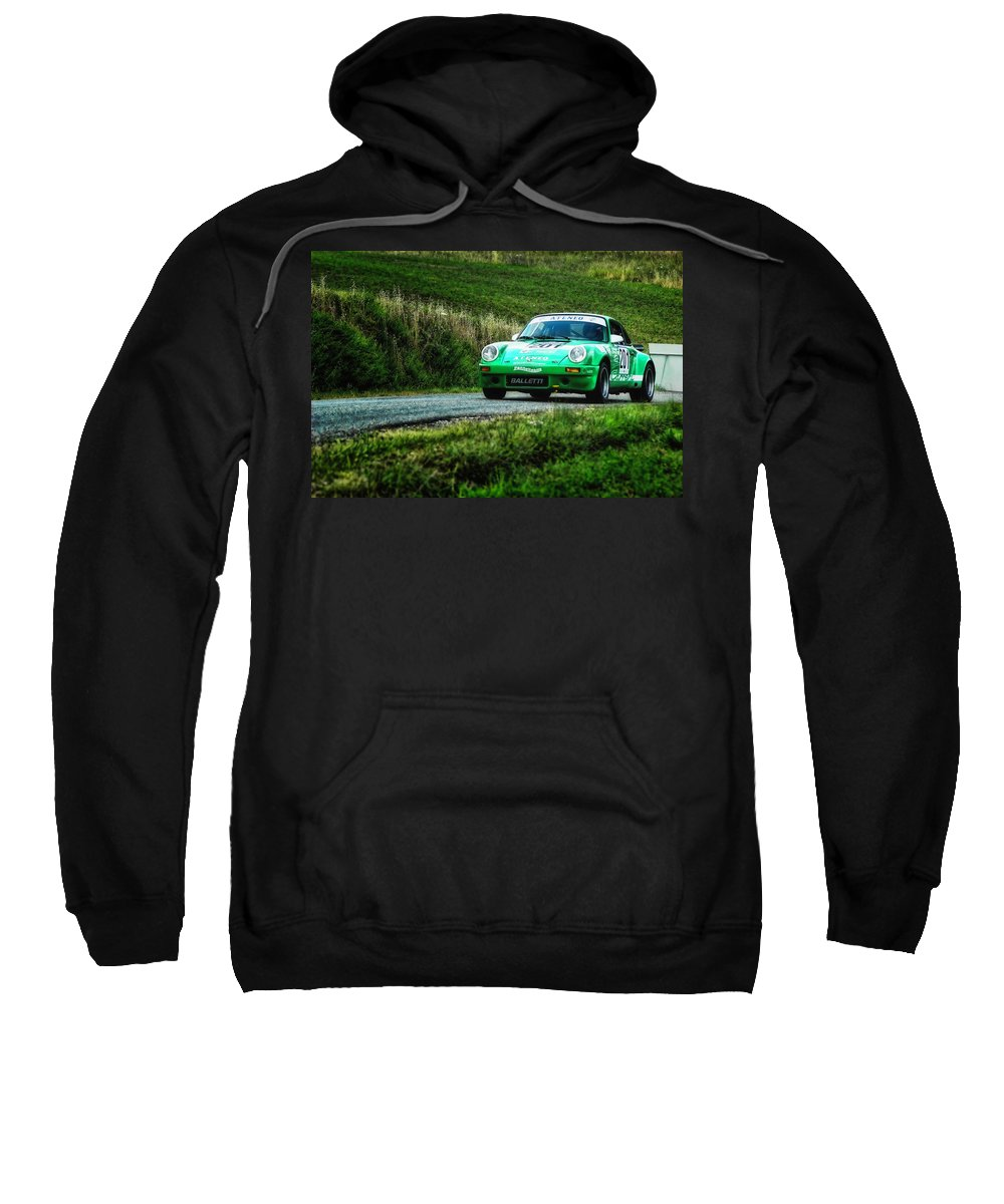 Car Sweatshirt featuring the photograph Green Porsche by Alain De Maximy