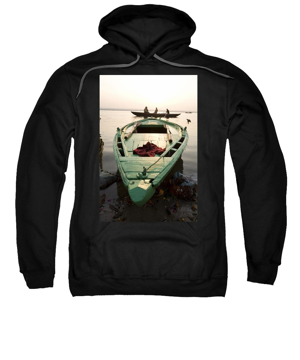 Background People Sweatshirt featuring the photograph Green Stationary Boat At Waters Edge by David DuChemin