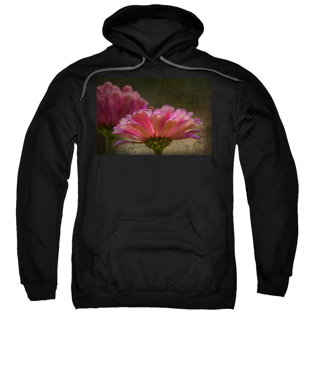 Zinnia Sweatshirt featuring the photograph Grungey Pink Zinnia Delight by Kathy Clark