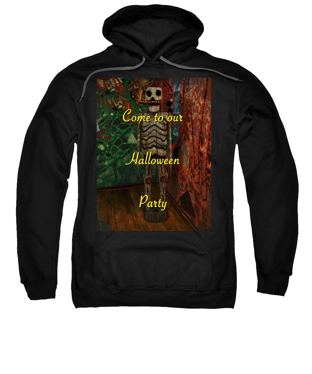 Halloween Sweatshirt featuring the photograph Halloween Party Invitation - Skeleton by Mother Nature