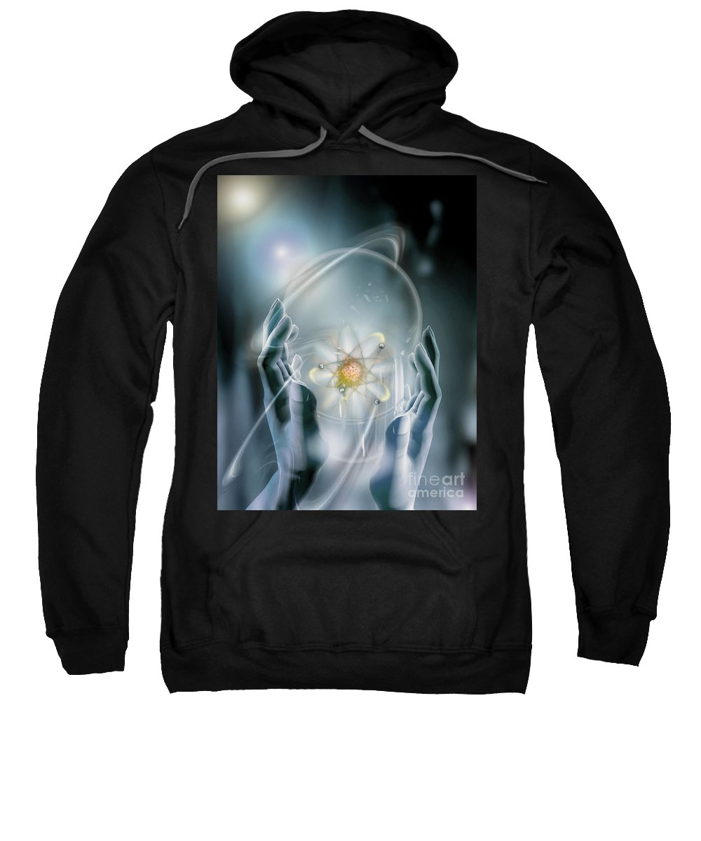 Atom Sweatshirt featuring the photograph Hands With Atom In Capsule by Mike Agliolo and Photo Researchers