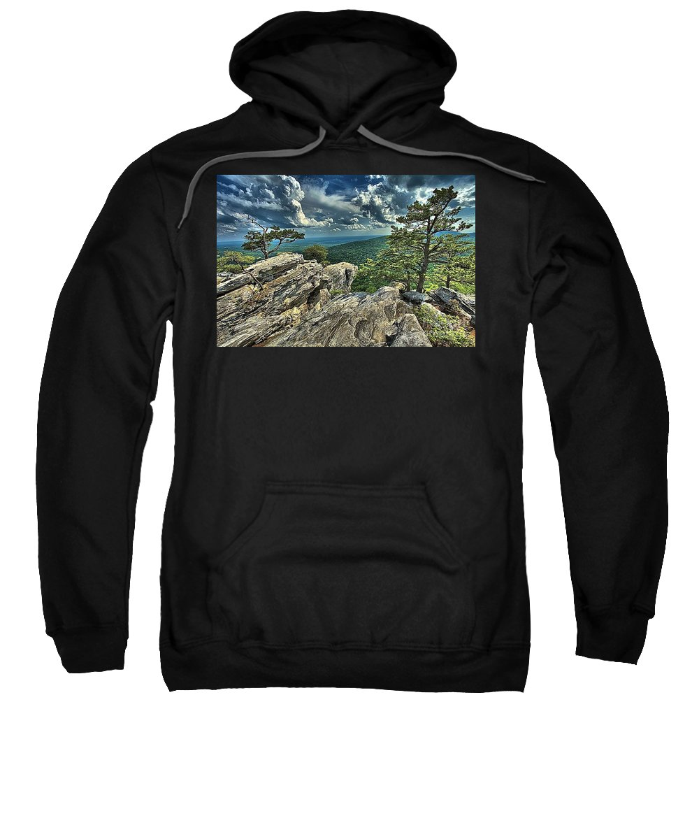 Hanging Rock State Park Sweatshirt featuring the photograph Hanging On To Life by Adam Jewell