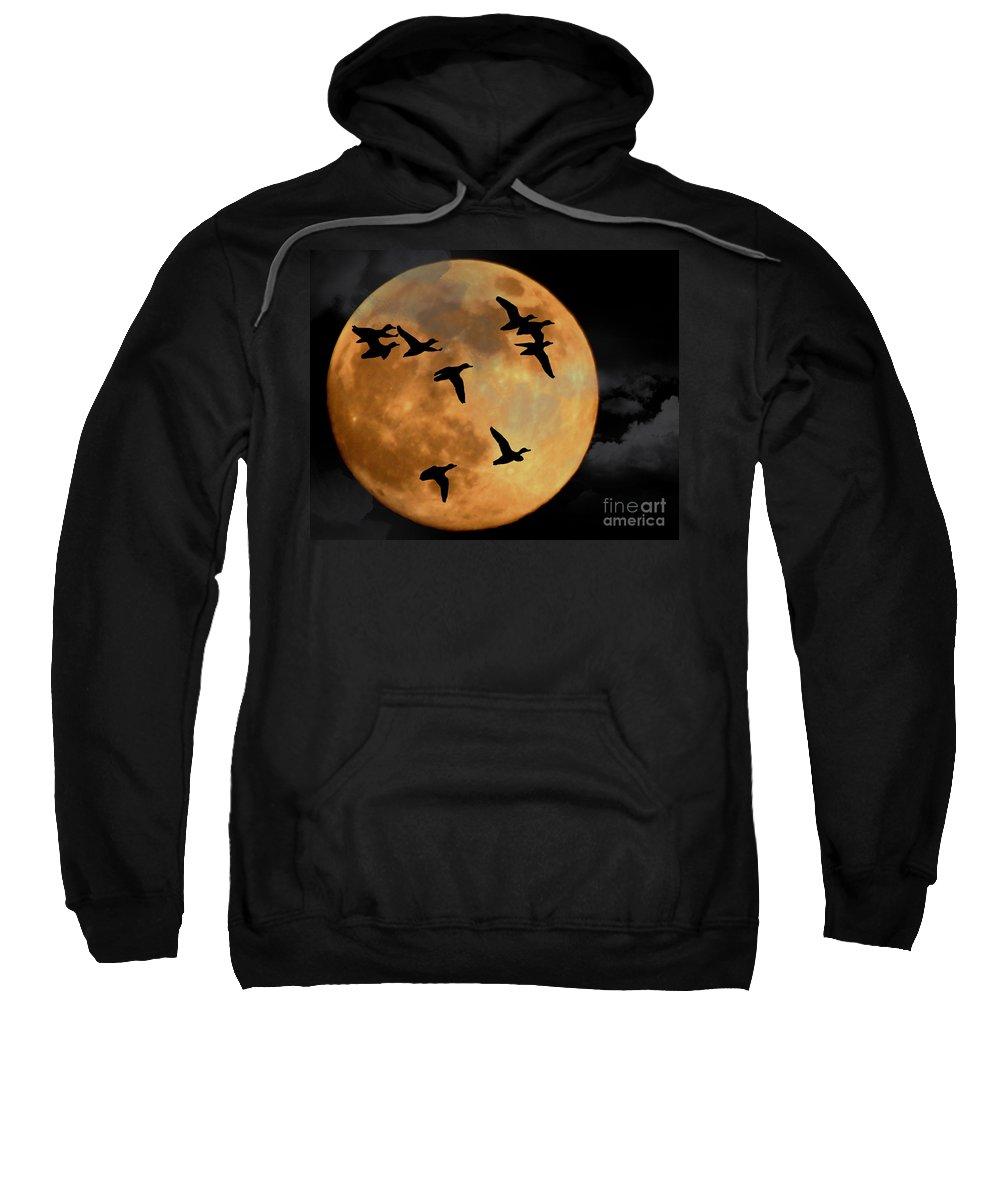 Full Moon Sweatshirt featuring the photograph Headed South by Ken Frischkorn
