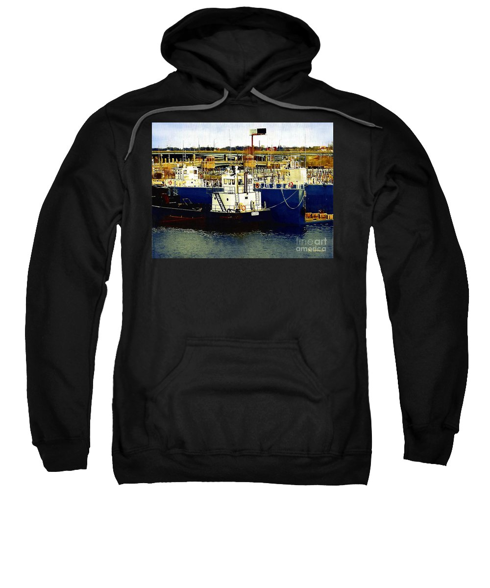 Boats Sweatshirt featuring the painting Heading Out Of The Harbor by RC DeWinter