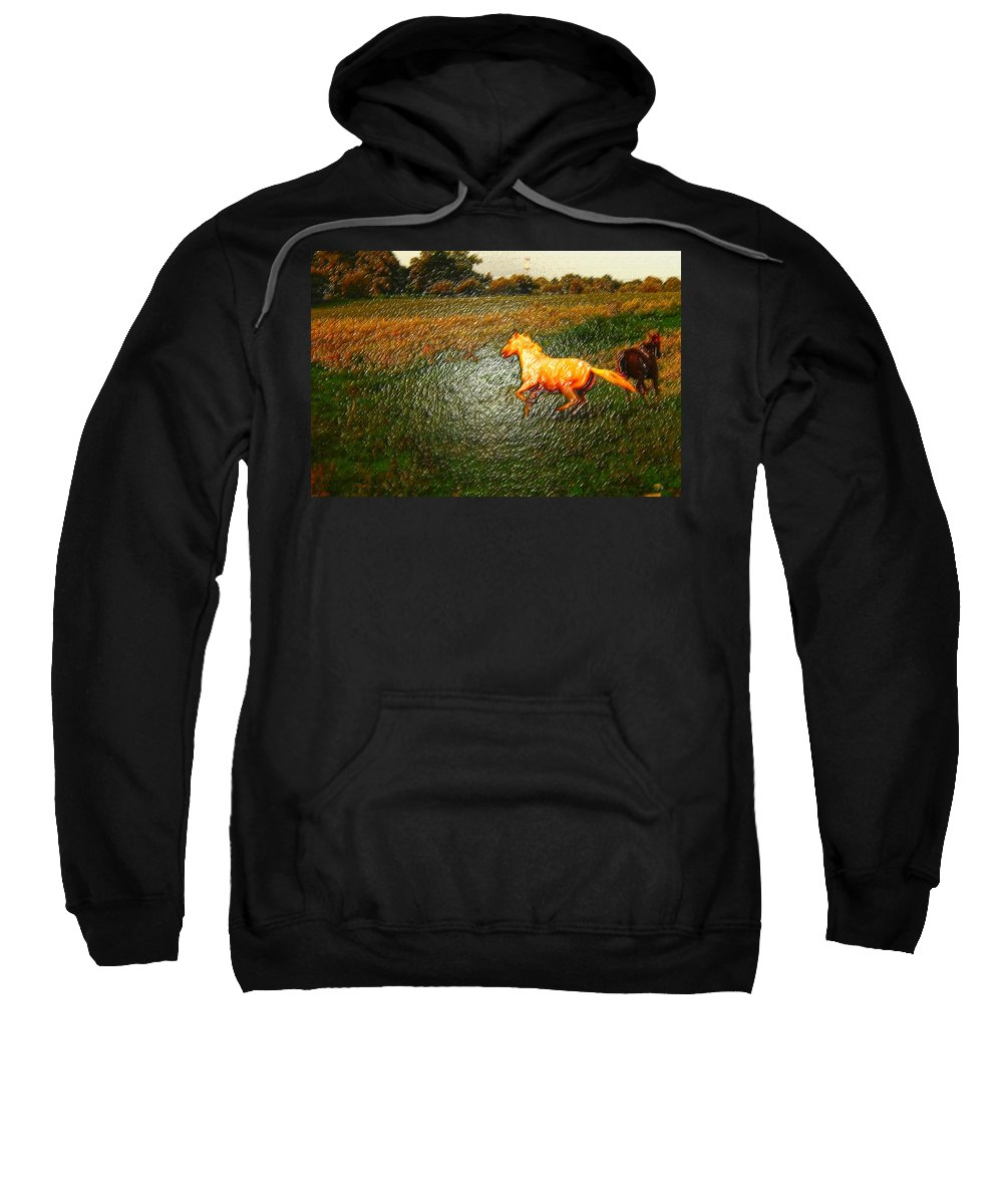 Horses Running Sweatshirt featuring the photograph Horse Frolicking by Randall Branham