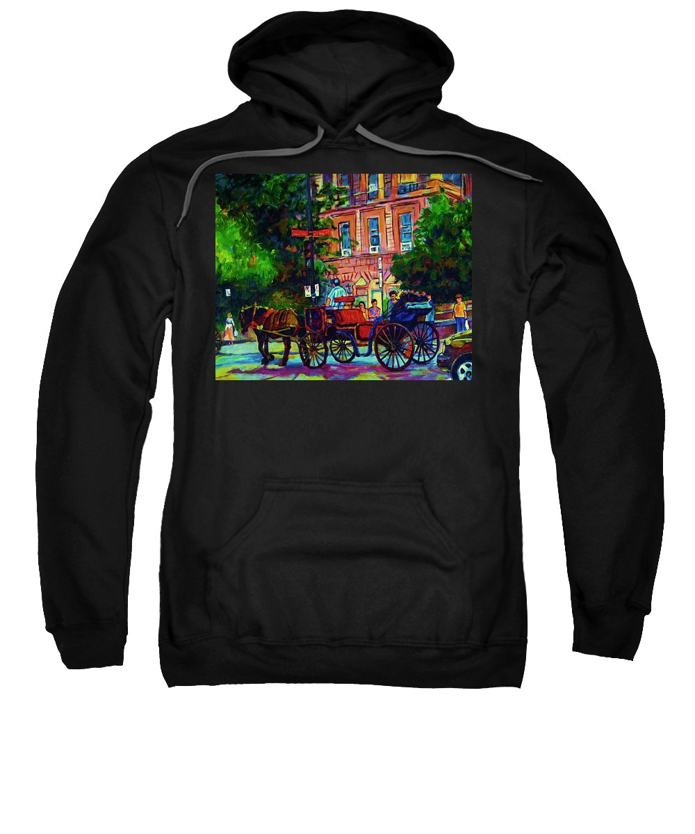 Rue Notre Dame Sweatshirt featuring the painting Horsedrawn Carriage by Carole Spandau