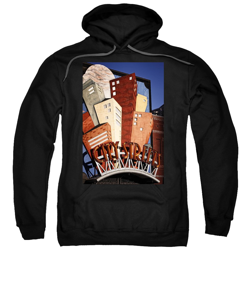 Sign Sweatshirt featuring the photograph Hot City Streets by Joan Carroll