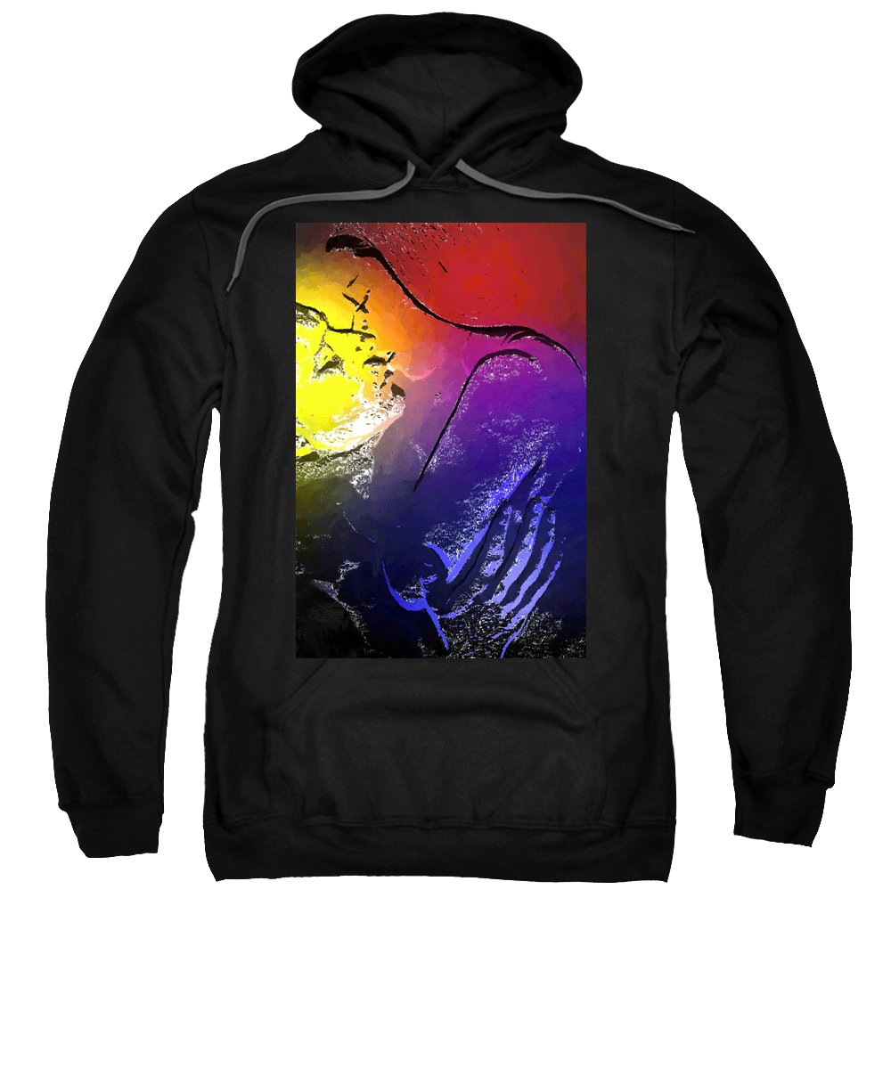 Love Lover Couple Lovers Heat Moment Loving Kiss Kissing Color Colorful Painting Expressionism Erotic Man Woman Girl Female Male Hand Sex Sexy Beauty Melt Melting Sweatshirt featuring the painting In The Heat Of The Moment by Steve K