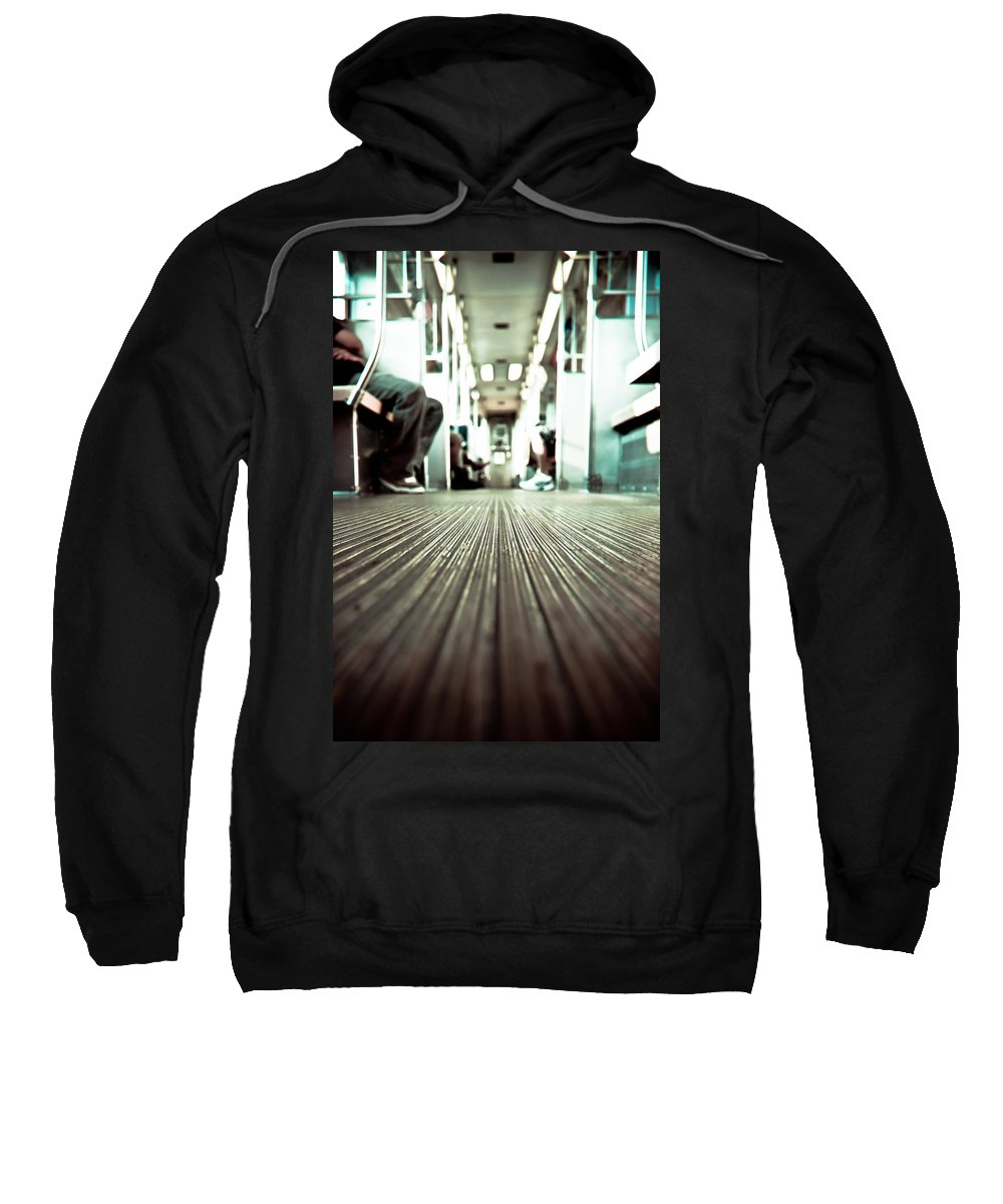 Chicago Sweatshirt featuring the photograph Inside The L At A Low Angle by Anthony Doudt
