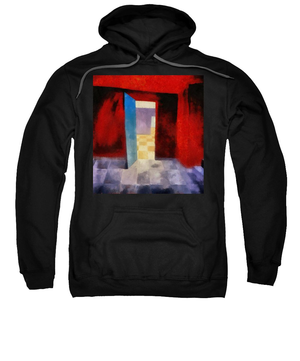 Red Sweatshirt featuring the painting Interior With Red Walls by Michelle Calkins