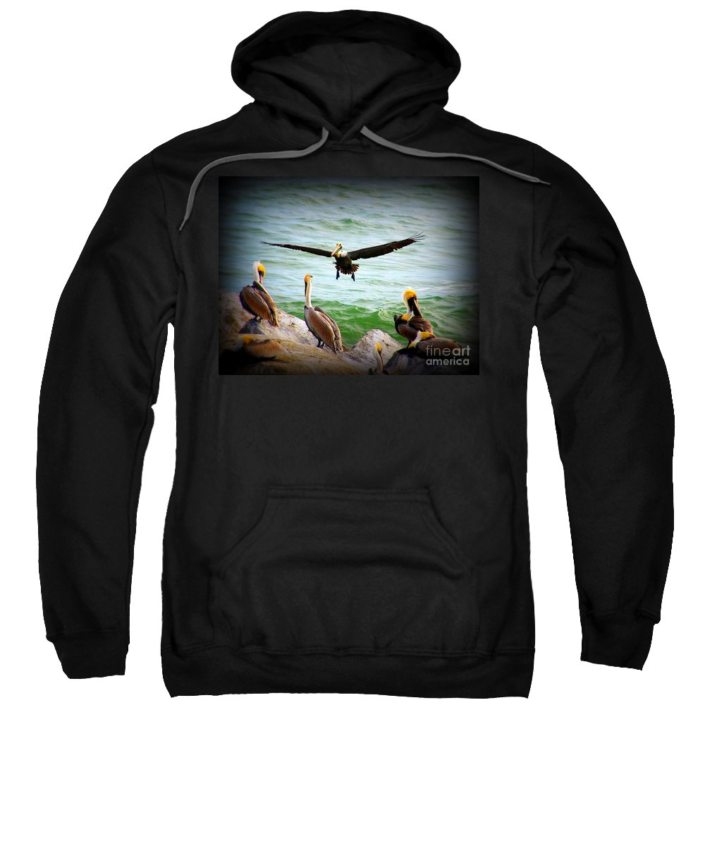 Pelican Sweatshirt featuring the photograph Its My Space by Susanne Van Hulst