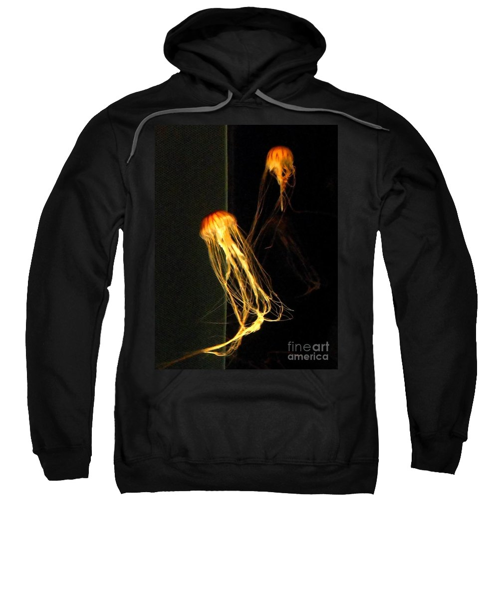 Jellies Sweatshirt featuring the photograph Jellyfish In Dark by Meandering Photography