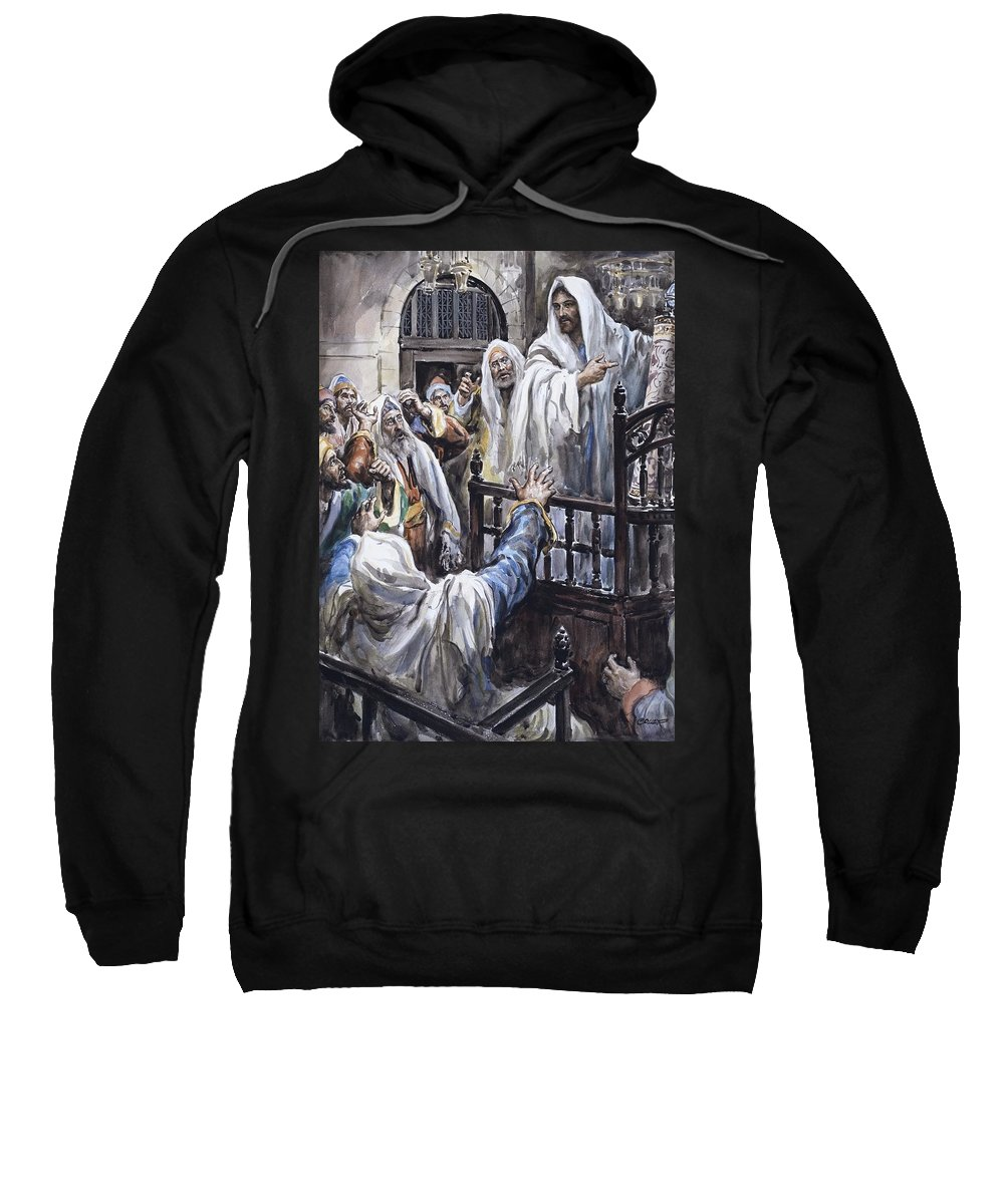 Jesus; Christ; Bible; Temple; Biblical Sweatshirt featuring the painting Jesus by Henry Coller