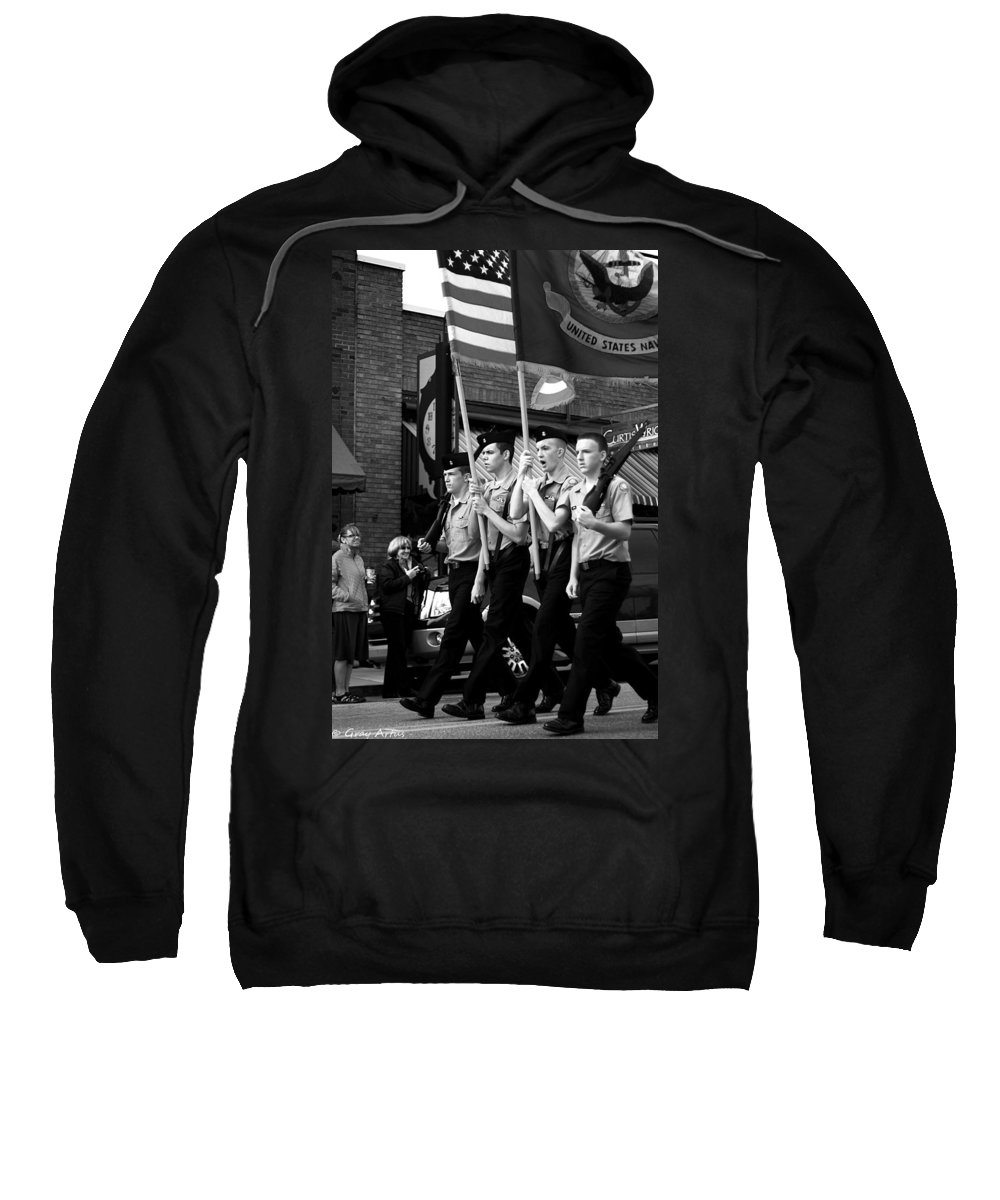 Parade Sweatshirt featuring the photograph Jrotc Carrying Flag In The Parade by Gray Artus
