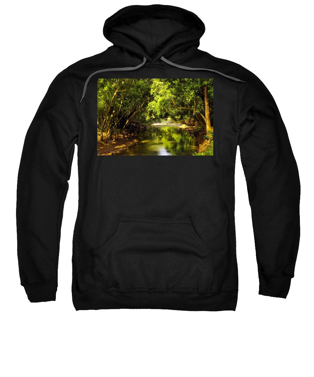 Secret Falls Sweatshirt featuring the photograph Jungle Stream Below The Secret by John Greaves