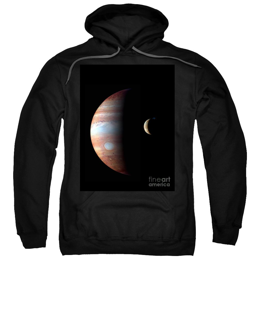 Science Sweatshirt featuring the photograph Jupiter And Io by NASA/Science Source