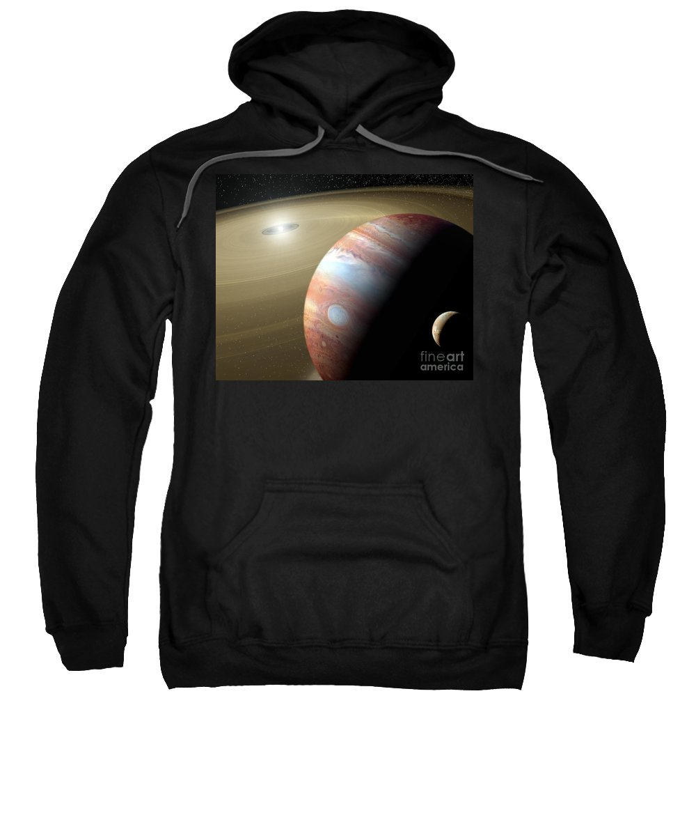 Animation Sweatshirt featuring the digital art Jupiter And Moon by Mike Agliolo and Photo Researchers