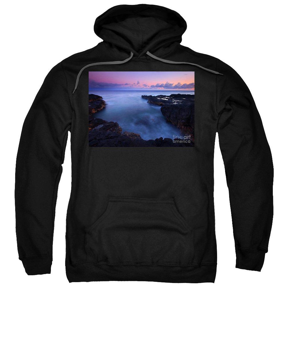 Spouting Horn Sweatshirt featuring the photograph Kauai Pastel Tides by Mike Dawson