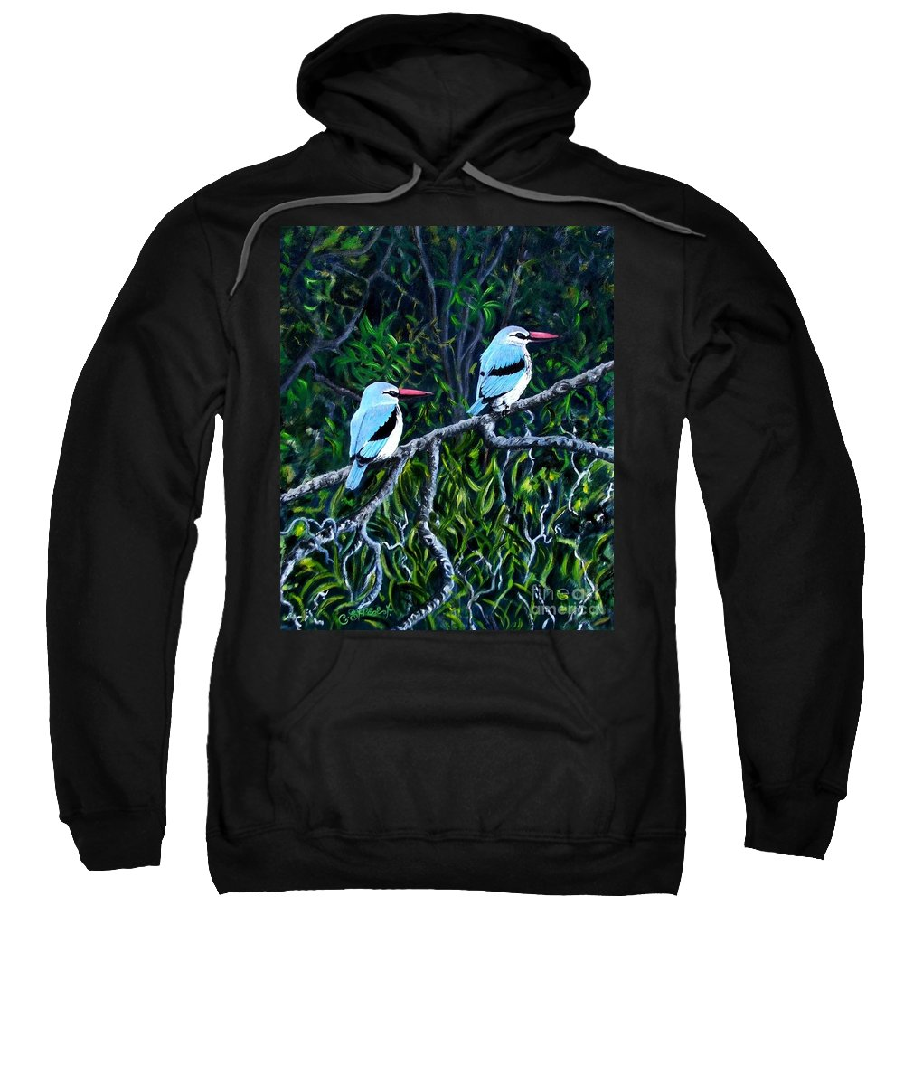 Birds Sweatshirt featuring the painting Woodland Kingfisher by Caroline Street