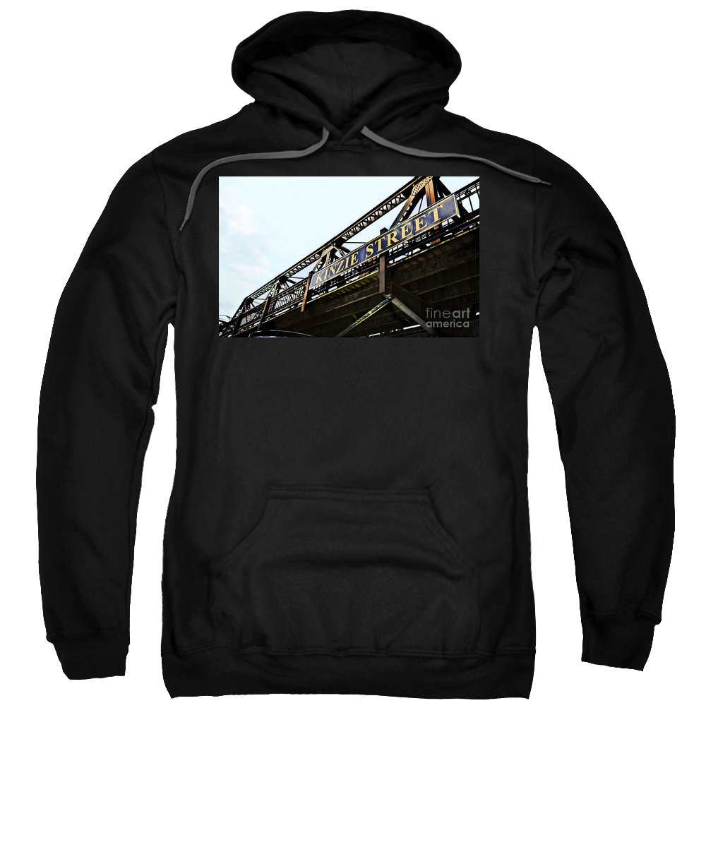 Railway Sweatshirt featuring the photograph Kinzie Street Stop - Chicago by Madeline Ellis