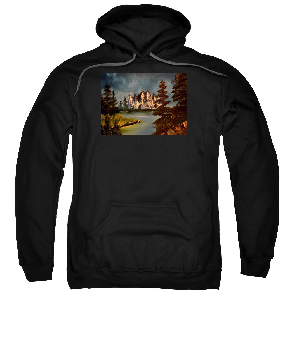 Mountains Sweatshirt featuring the painting Lakeview by Maria Urso