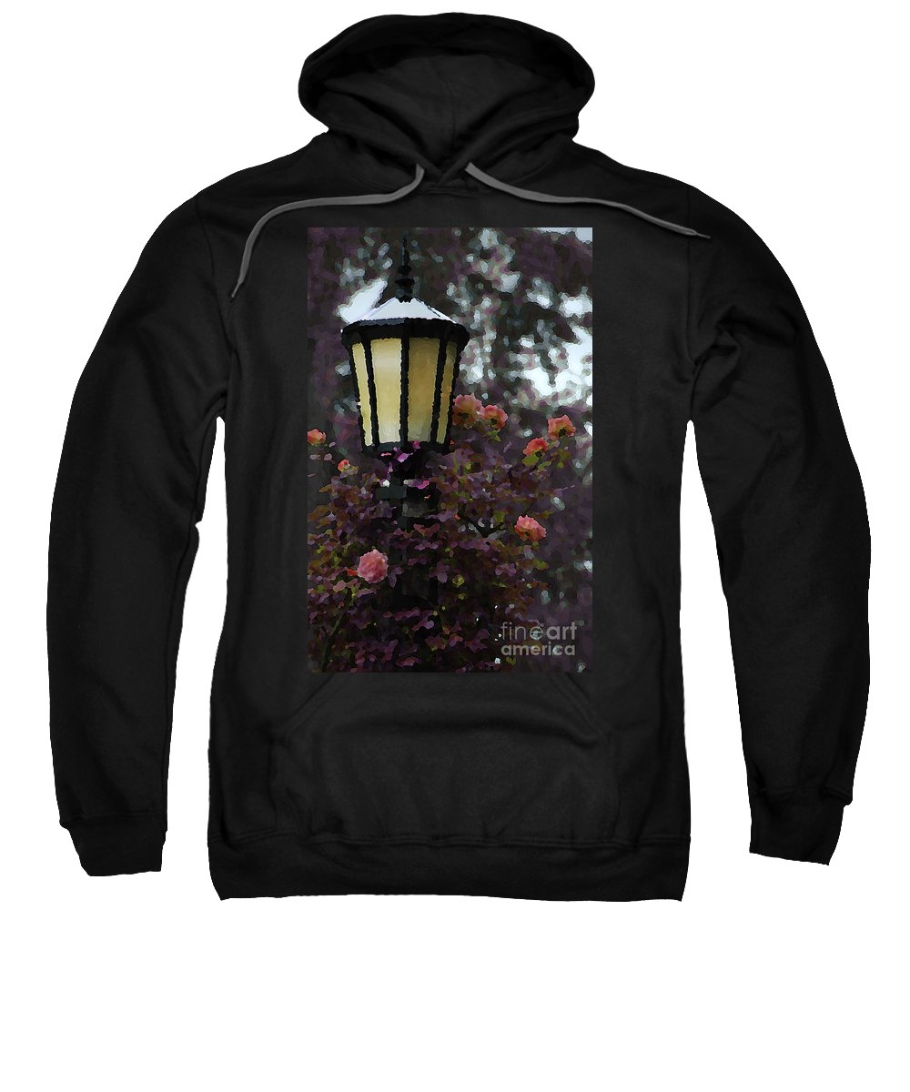 Photo Sweatshirt featuring the photograph Lamp And Roses by Mike Nellums
