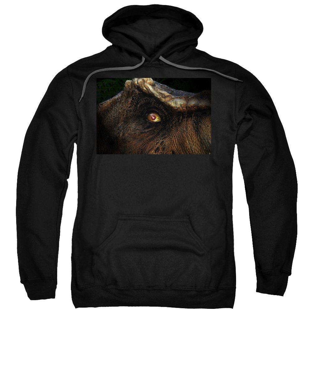 Dinosaur Sweatshirt featuring the painting Last Day Of The Jurassic by David Lee Thompson