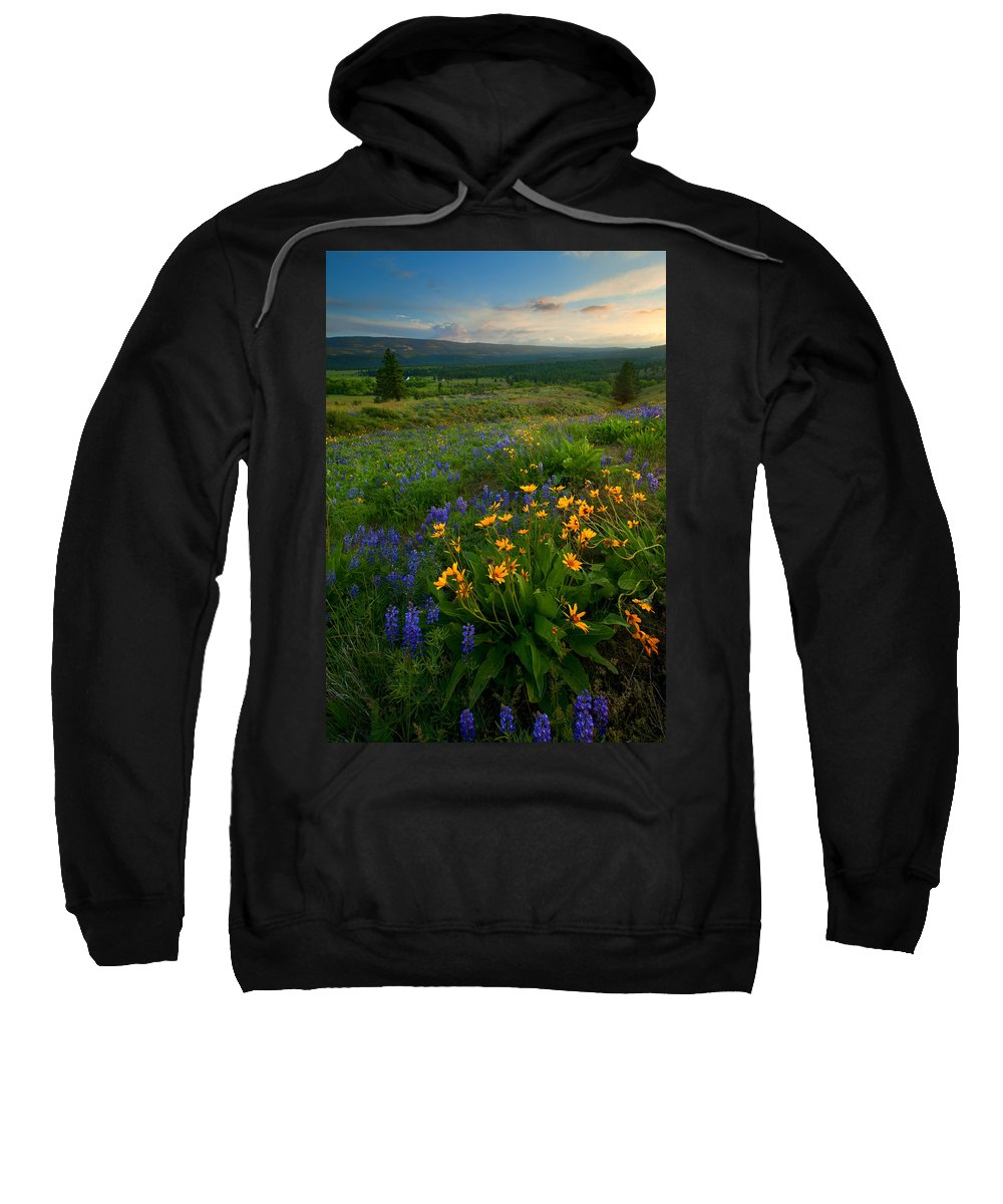 Meadow Sweatshirt featuring the photograph Last Light Over The Wenas by Mike Dawson