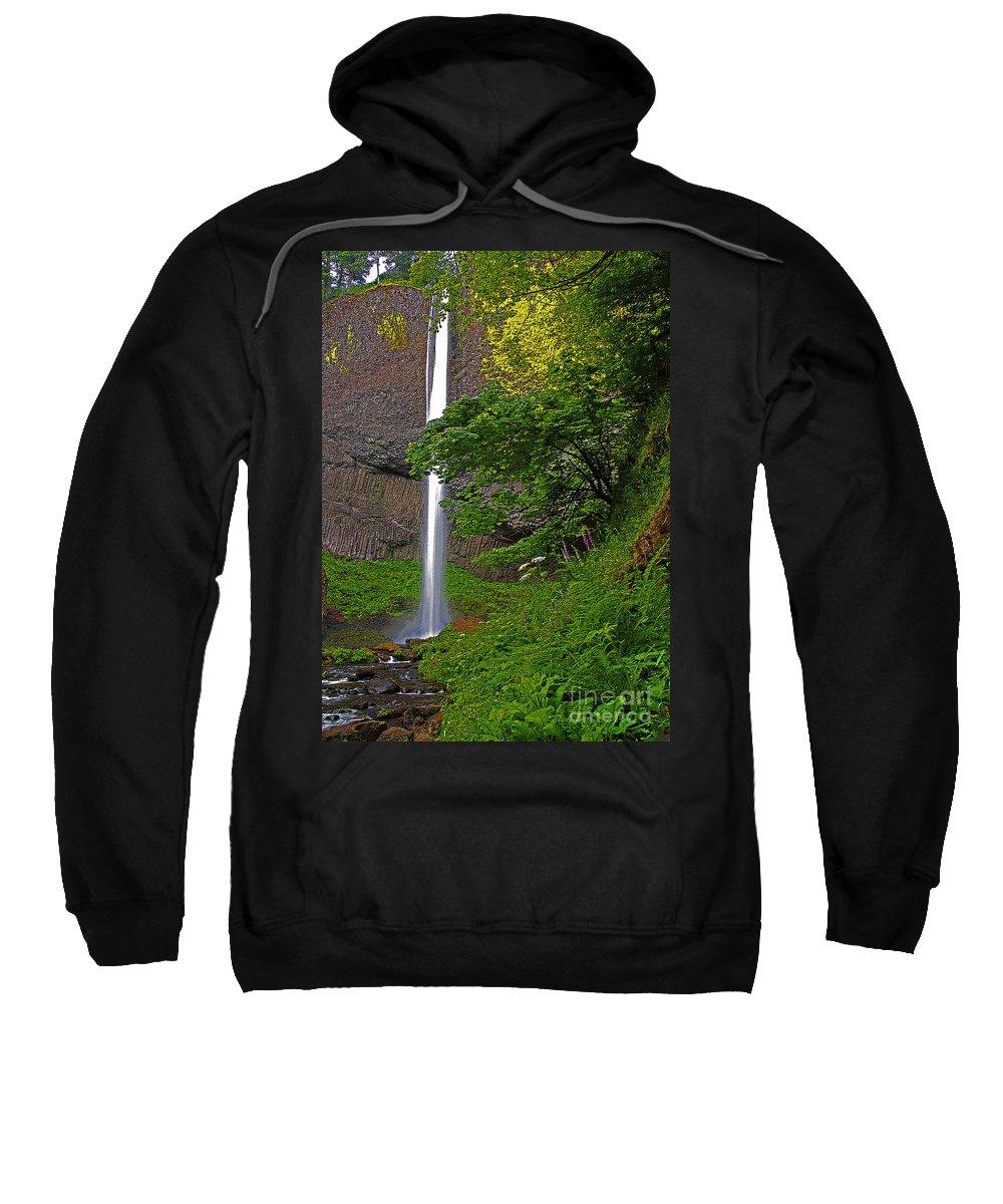 Oregon Sweatshirt featuring the photograph Latourell Falls Oregon - Posterized by Rich Walter