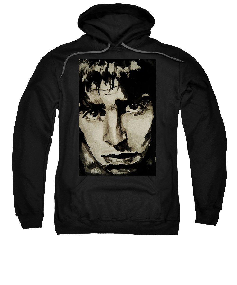 Liam Gallagher Sweatshirt featuring the drawing Liam by Molly Picklesimer