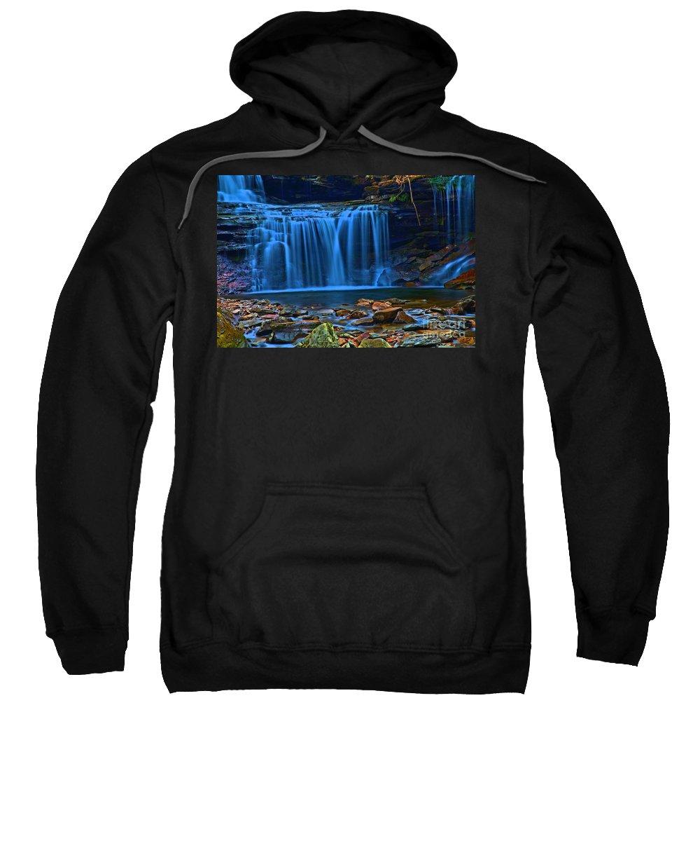 Waterfalls Sweatshirt featuring the photograph Light Blue Falls by Adam Jewell