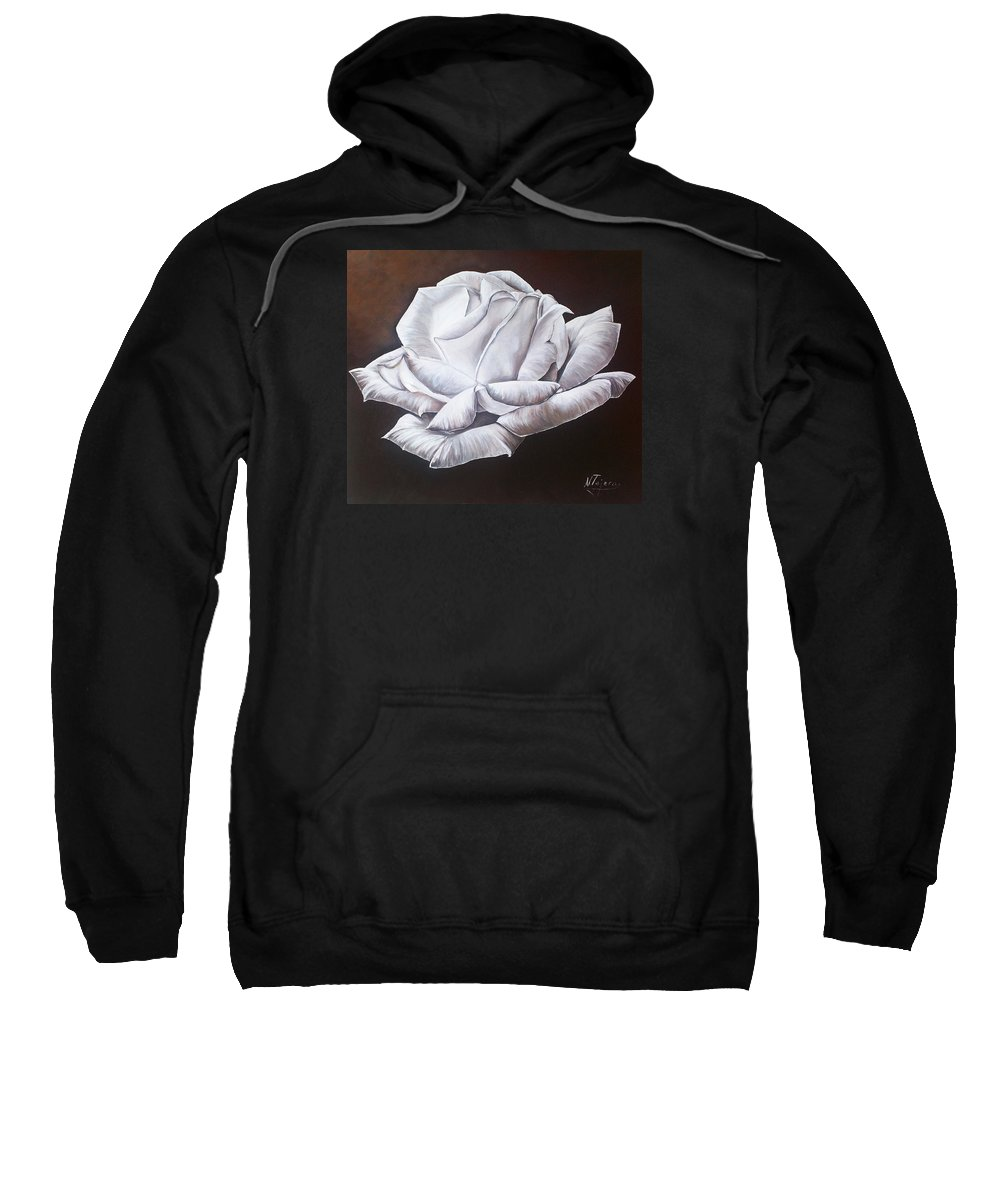 Still Life Sweatshirt featuring the painting Light In The Darkness by Natalia Tejera