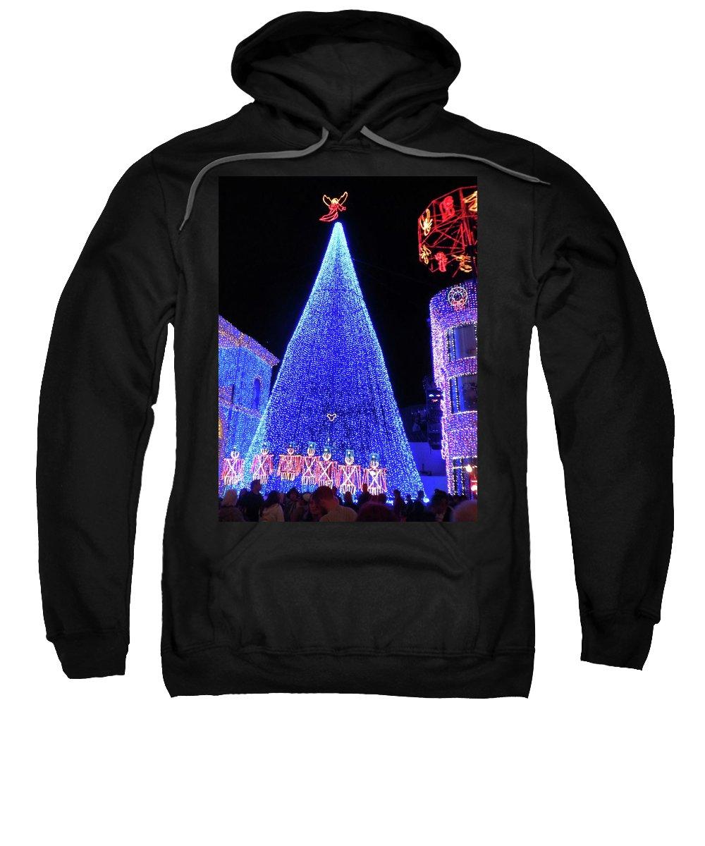 Magic Kingdom Sweatshirt featuring the photograph Lighted Xmas Tree Walt Disney World by Thomas Woolworth