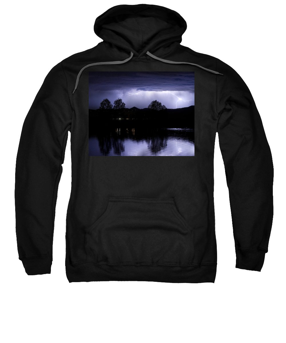 Lightning Sweatshirt featuring the photograph Lightning Over Coot Lake by James BO Insogna