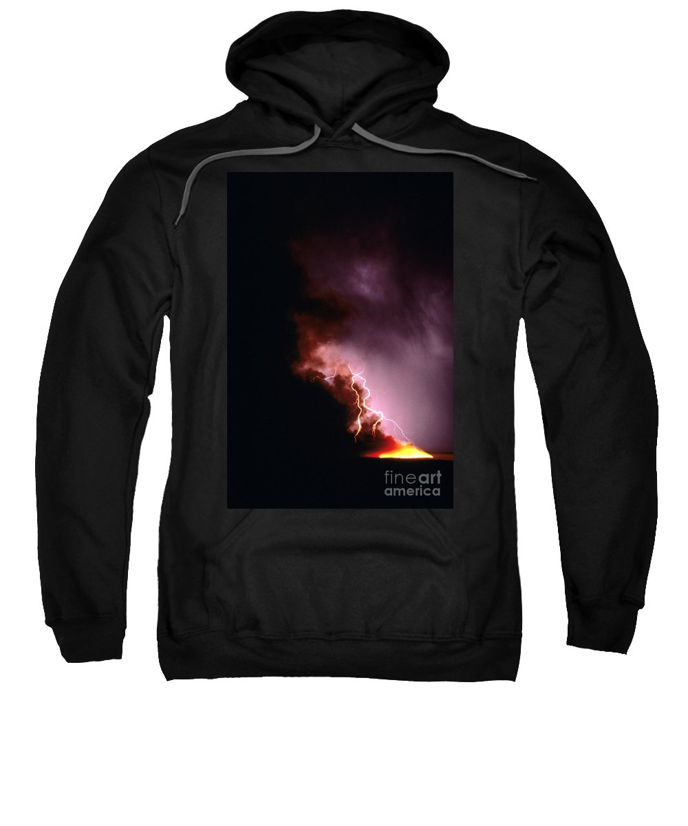 Forest Fire Sweatshirt featuring the photograph Lightning Starts A Fire by David R Frazier and Photo Researchers