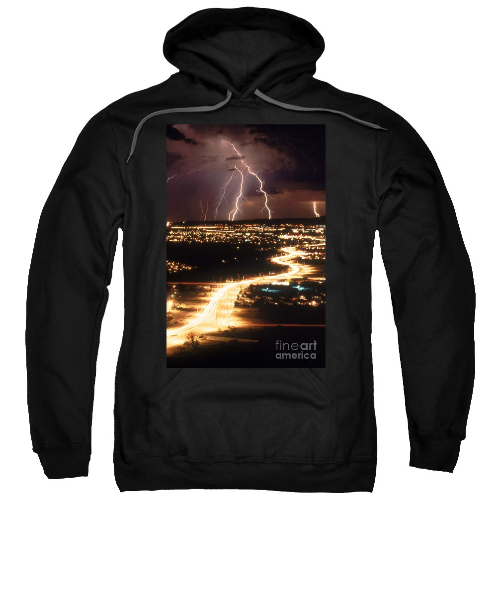Meteorology Sweatshirt featuring the photograph Lightning Storm by Kent Wood and Photo Researchers