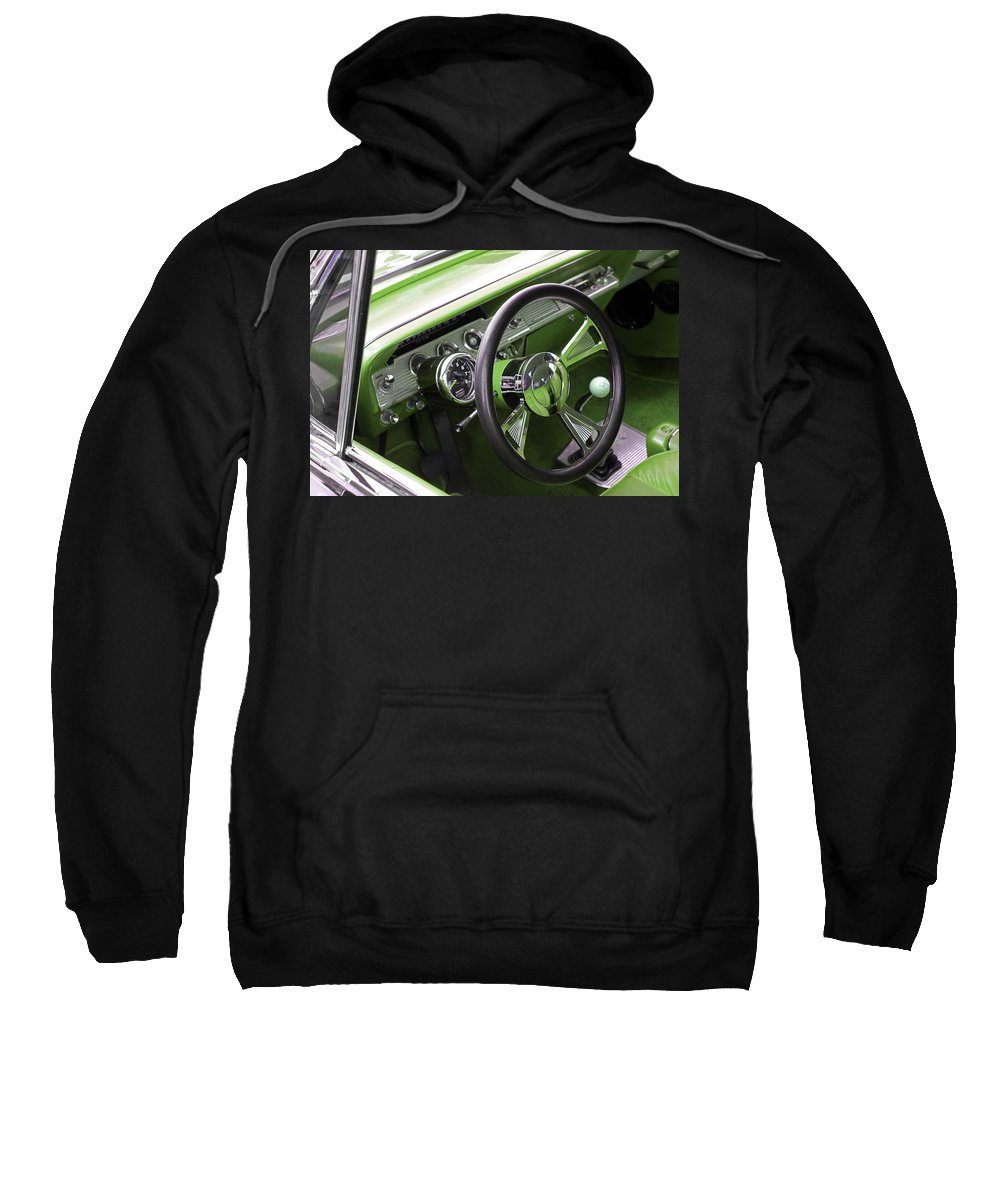 Classic Sweatshirt featuring the photograph Lime Chevy Impala by Carolyn Stagger Cokley