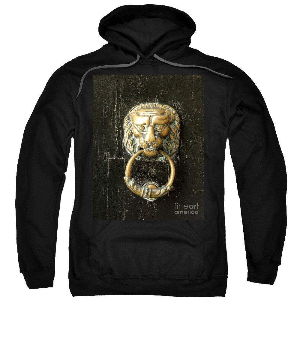 Door Sweatshirt featuring the photograph Lion Door Knocker by Lainie Wrightson